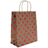 Kraft & Metallic Red Polka Dot Gift Bags