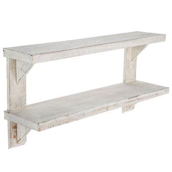 White Double Wood Wall Shelf