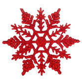 Red Glitter Snowflake Ornaments