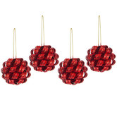 Red Curly Glitter Ornaments