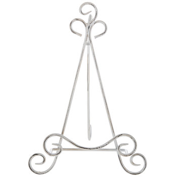 Distressed White Scroll Plate Easel