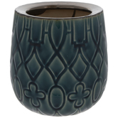 Teal & Antique Brass Patterned Vase