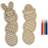 Chick & Bunny Coloring Wood Craft Kit