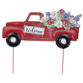 Red Welcome Truck Metal Garden Stake
