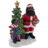 Santa & Child Decorating Christmas Tree