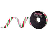 Christmas Striped Single-Face Satin Ribbon - 3/8""
