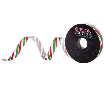 "Christmas Striped Single-Face Satin Ribbon - 3/8"""