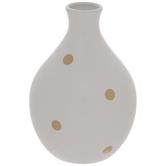 White & Gold Polka Dot Vase