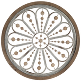 Flower & Beads Circle Metal Wall Decor