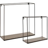 Black Wire Wood Wall Shelf Set
