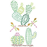 Cactus & Dragonfly Rhinestone Stickers