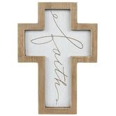 Faith Cursive Wood Wall Cross