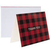 Red & Black Buffalo Check Thank You Cards