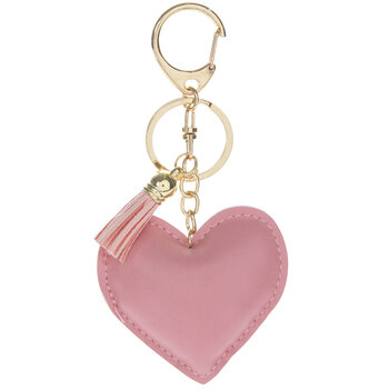 Pink Faux Leather Heart Keychain