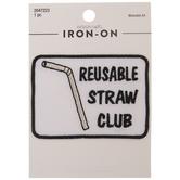 Reusable Straw Club Iron-On Applique