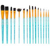 Black Taklon Paint Brushes - 15 Piece Set