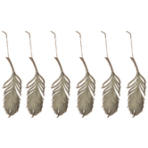 Gold Glitter Feather Ornaments