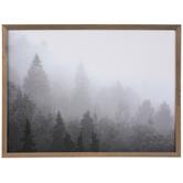 Gray & White Foggy Trees Wood Wall Decor