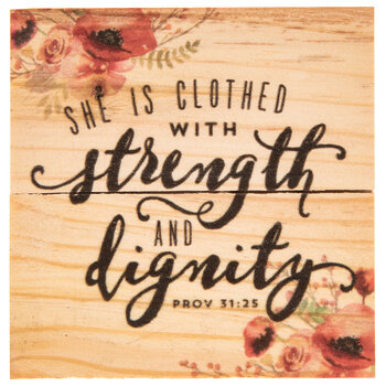 Proverbs 31:25 Wood Magnet