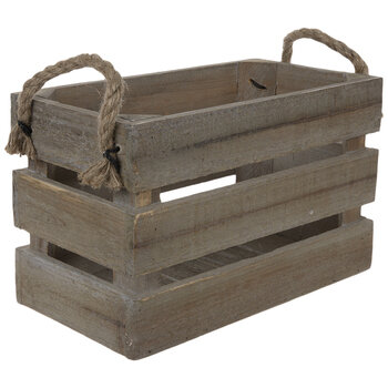 Natural Wood Crate With Rope Handles - Small