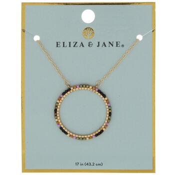 Pink, Orange & Black Bead Circle Necklace