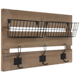 Wire Metal Baskets Wall Decor With Hooks