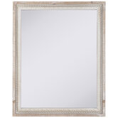 Whitewash Beaded Wood Wall Mirror