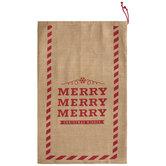 Merry Merry Merry Burlap Drawstring Gift Bag