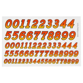 Red & Orange Number Dry Transfer Decals