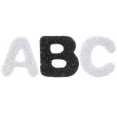 Black & White Glitter Alphabet Foam Stickers