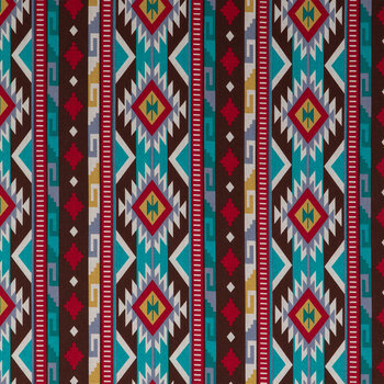 Turquoise, Red & Brown Tribal Cotton Apparel Fabric
