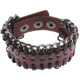 Russet Leather Cuff Bracelet With Chain