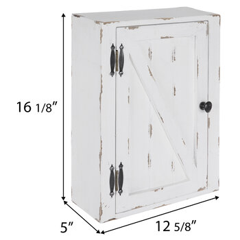 White Distressed Wood Wall Cabinet
