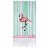 Flamingo Striped Kitchen Towel