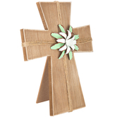Wood Cross Decor with Flower