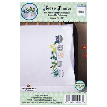 House Plants Embroidery Pillowcases Kit