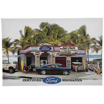 Tropical Ford Garage Canvas Wall Decor
