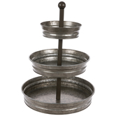 Three-Tiered Galvanized Metal Tray