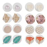 Flower & Plastic Pearl Earrings