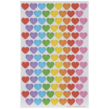 Multi-Color Hearts Stickers