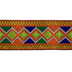 Orange, Blue & Green Ethnic Diamond Design Decorative Trim - 2