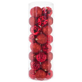 Red Faceted & Glitter Ball Ornaments