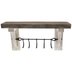 White Rustic Wood Wall Shelf With Hooks