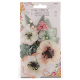 Pink & Green Poppies Prima Flower Embellishments