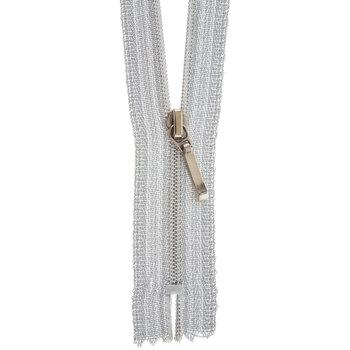 """Silver Fancy Zipper - 7"""""""