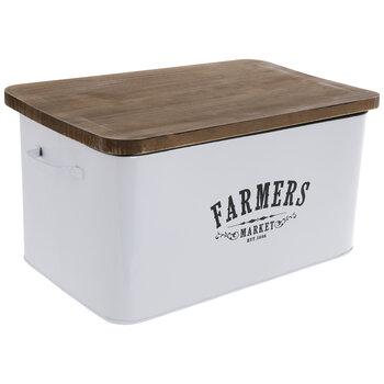 Farmers Market White Enamel Container