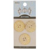Gold Metallic Hammered Round Buttons - 22mm