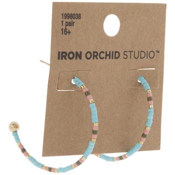 Blue & Pink Beaded Hoop Earrings