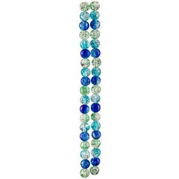 Blue & Green Crackle With Splatter Bead Strands