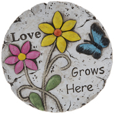 Love Grows Here Floral Stepping Stone